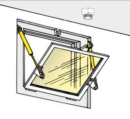 Kelluvamäntäinen (Floating piston) kaasujousi ikkunassa